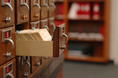 An old library card catalog.