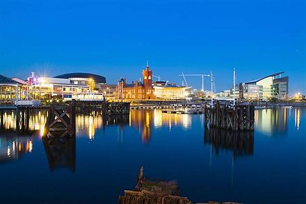 Redevelopment in the city's historic Cardiff Bay area Cardiff Bay at night.jpg