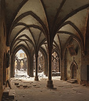 Walkenried Abbey - Walkenried ruins in winter, Romantic painting by Carl Hasenpflug, 1843