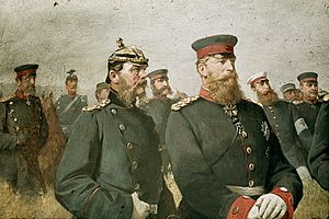 Leonhard Graf von Blumenthal - The Crown Prince of Saxony and the Crown Prince of Prussia. Leonhardt von Blumenthal at left of picture. From a painting by Carl Steffeck