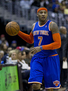 Carmelo Anthony dribbling up the court
