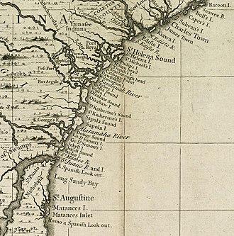 Siege of St. Augustine (1702) - Image: Carolina To Florida Coast 1733