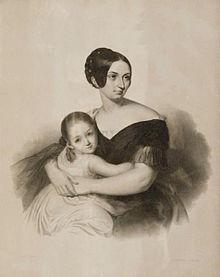 Carolyne zu Sayn-Wittgenstein mit ihrer Tochter Marie, um 1840 (Quelle: Wikimedia)