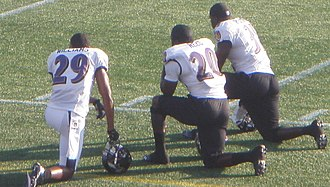 Bernard Pollard - Cary Williams (29), Ed Reed (20) and Pollard (31) at Navy–Marine Corps Memorial Stadium in August, 2012