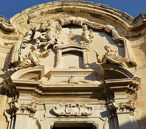 Allegorical sculpture - Baroque allegorical figures of Lady Justice and Lady Prudentia, on the façade of the 18th century Castellania, in Valletta