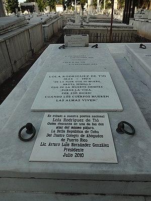 Lola Rodríguez de Tió - Grave at Colon Cemetery in Havana