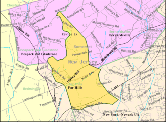 Far Hills, New Jersey - Image: Census Bureau map of Far Hills, New Jersey