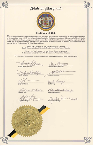 Electoral College (United States) - The 2012 Certificate of Vote issued by Maryland's delegation to the Electoral College.