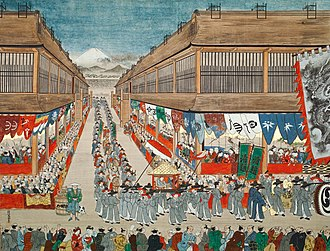 History of Japan–Korea relations - This image of a Joseon diplomatic procession through the streets of Edo in 1748 is entitled Chōsen-jin Uki-e by Hanegawa Tōei, c. 1748