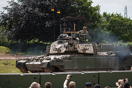 An upgraded Challenger 2 with added explosive reactive armour panels, manufactured by Rafael Advanced Defense Systems[45]