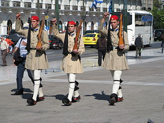 Conscription in Greece - Evzones of the Presidential Guard in front of the Greek Parliament armed with M1 Garands.