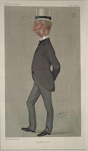 "Sir Charles Dalrymple, 1st Baronet - ""Ipswich senior"". Caricature by Spy published in Vanity Fair in 1892"