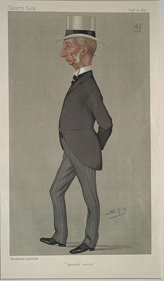 """Sir Charles Dalrymple, 1st Baronet - """"Ipswich senior"""". Caricature by Spy published in Vanity Fair in 1892"""