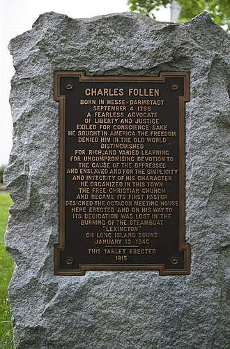 Charles Follen - Memorial to Charles Follen in the churchyard