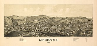 Chatham (town), New York - Panoramic map of Chatham Falls from 1886 by L.R. Burleigh including list of landmarks