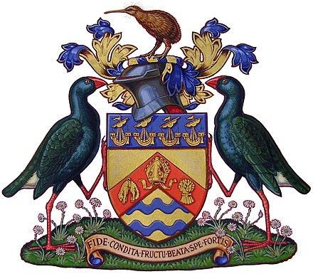 The coat of arms of the City of Christchurch, New Zealand. Chch COA.JPG
