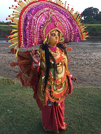Chhau dance - A Chhau dancer in Bagmundi in role of goddess Durga.