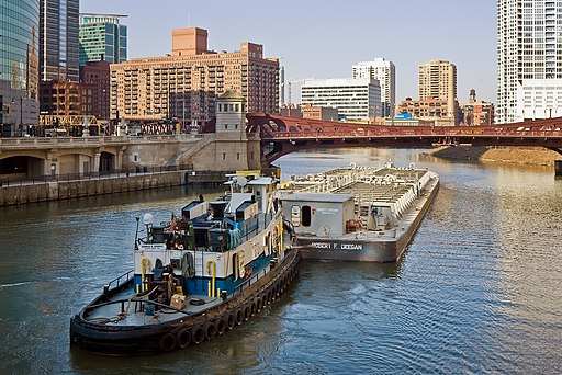 Chicago River towboat and barge