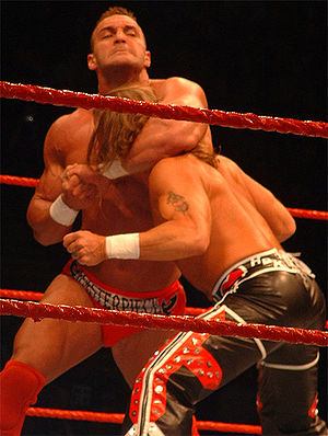 Professional wrestling holds - Chris Masters applies a standing side headlock to Shawn Michaels