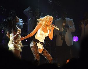 "Can't Hold Us Down - Aguilera performing excerpts from ""Can't Hold Us Down"" in a medley with ""Still Dirrty"" on the Back to Basics Tour in Dublin, November 2006"