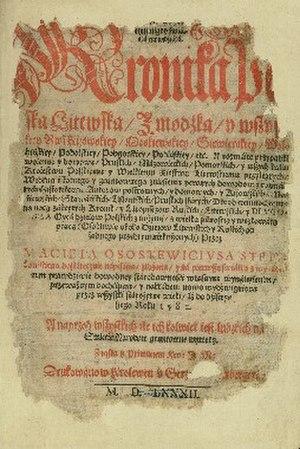 Maciej Stryjkowski - Title page of Chronicle... by M. Stryjkowski