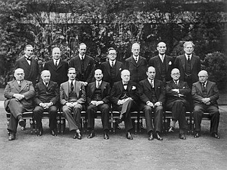 David Margesson, 1st Viscount Margesson - Margesson (standing, second from right) with other members of the Churchill Coalition War Cabinet