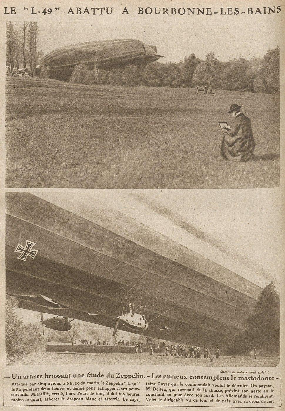 Chute du dirigeable allemand L-49 à Bourbonne-les-Bains en 1917