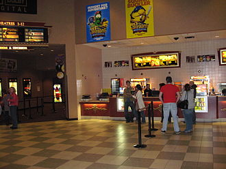 Hampshire Mall - The concession stand next at the Cinemark movie theater in the Hampshire Mall. To the left is the walkway that leads to the theaters.