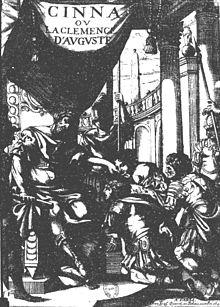 """""""Cinna oder die Gnade des Augustus"""".Titelblatt der Ausgabe von 1643 (Quelle: Wikimedia)"""