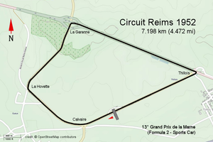 Grand Prix de la Marne - Street Map - Reims- 1952