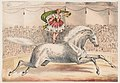 Circus performer standing on the back of a horse LCCN2003655702.jpg