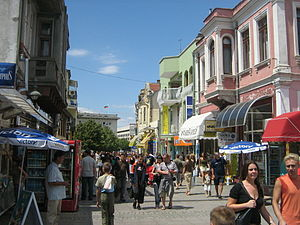 English: The central street of Burgas.