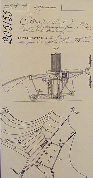 Clément Ader - Clement Ader's Eole French patent 205155, 19 April 1890.