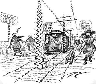 Duke Ellington Bridge - 1922 cartoon depicting the old Calvert Street Bridge