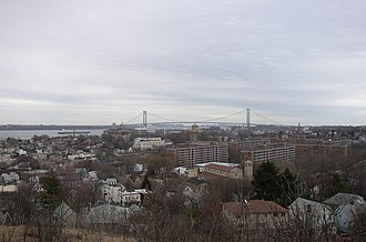 Clifton, Staten Island - A view over Clifton with Verrazano-Narrows Bridge in the background.
