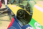 Cockpit of Erik Comas`s Larrousse LH93 in the pit lane at the 1993 British Grand Prix (33557428561).jpg