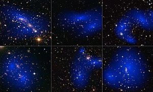 Dark matter - Image: Collage of six cluster collisions with dark matter maps