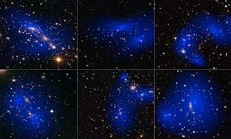 Dark matter - Collage of six cluster collisions with dark matter maps. The clusters were observed in a study of how dark matter in clusters of galaxies behaves when the clusters collide.