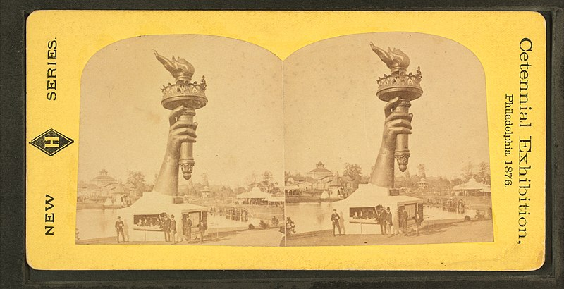 """File:Collossal hand and torch. Bartholdi's statue of """"Liberty."""", from Robert N. Dennis collection of stereoscopic views.jpg"""