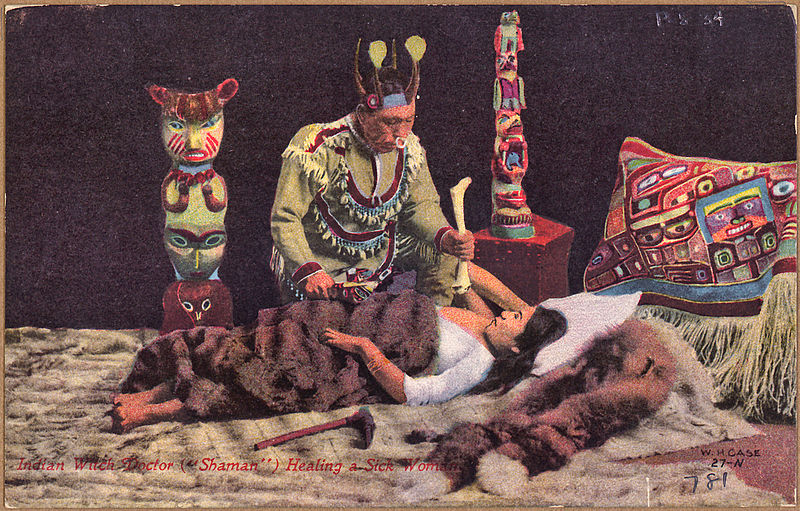 "File:Color post card. Indian witch doctor (""shaman"") healing a sick woman. - NARA - 297728.jpg"