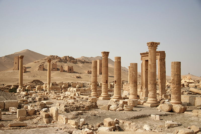 File:Columns and tombs in Palmyra.JPG