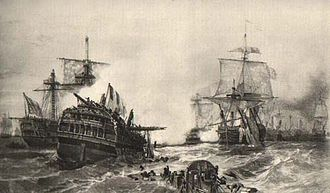 Glorious First of June - The dismasted ship  Vengeur du Peuple in the aftermath of battle. Lithograph after Auguste Mayer.