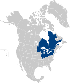 Great Lakes and St. Lawrence Governors and Premiers - The member states and provinces, marked in blue, surrounds the Great Lakes