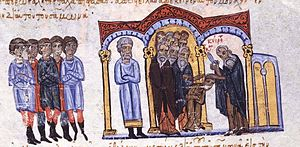 Samonas - Constantine the Paphlagonian is tonsured at the orders of Samonas, miniature from the Madrid Skylitzes