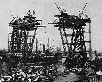 Puente Transbordador - Image: Construcc puente avellaneda