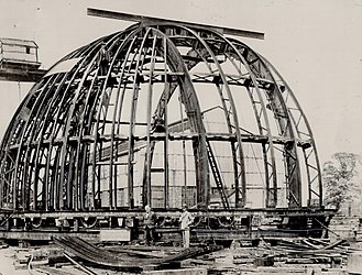 David Dunlap Observatory - Construction of the observatory's dome in Newcastle upon Tyne, after which it was dismantled and shipped to Richmond Hill