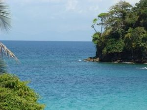 Contadora Island - Peninsula on Contadora Island, surrounded by dark patches of coral.