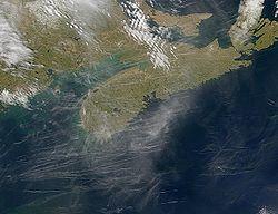 A satellite photo of Nova Scotia