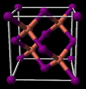 Copper(I) iodide - Image: Copper(I) iodide unit cell 3D balls