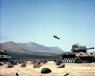 M712 Copperhead - M712 Copperhead approaches an old M47 Patton tank used as a target